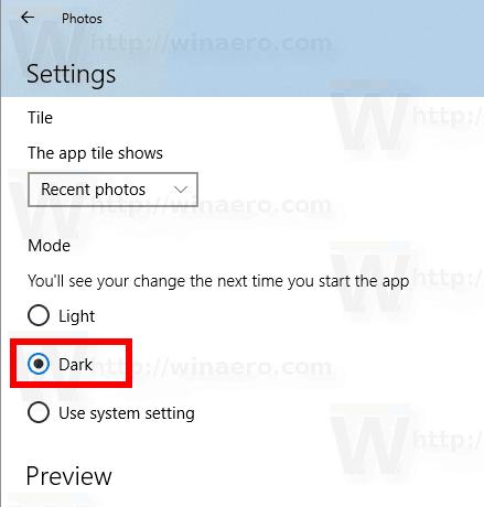 Windows 10 Photos Dark Theme
