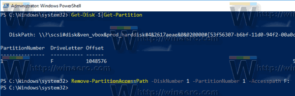 Windows 10 Remove Letter PowerShell