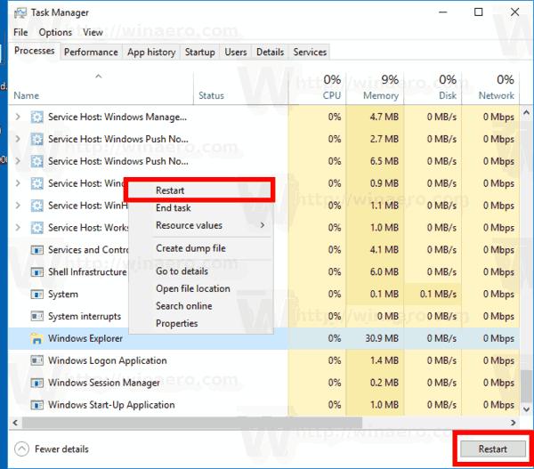 Windows 10 Restart Explorer Command
