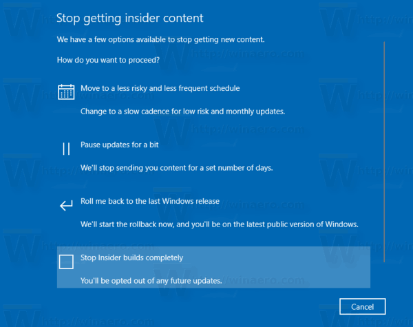 Windows 10 Stop Receiving Insider Preview Builds Completely