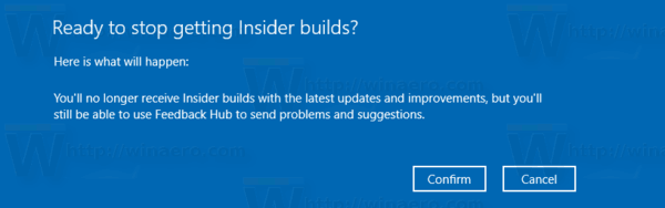 Windows 10 Stop Receiving Insider Preview Builds Confirmation