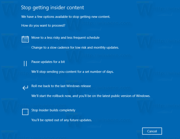 Windows 10 Stop Receiving Insider Preview Builds