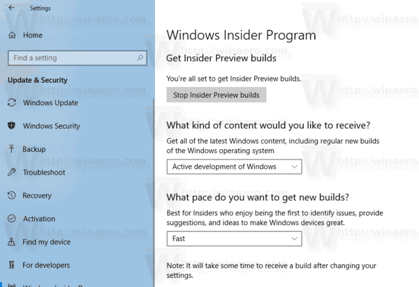 Windows 10 Windows Insider Preview Page