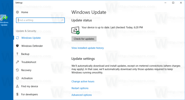 Windows 10 Windows Update Shortcut In Action