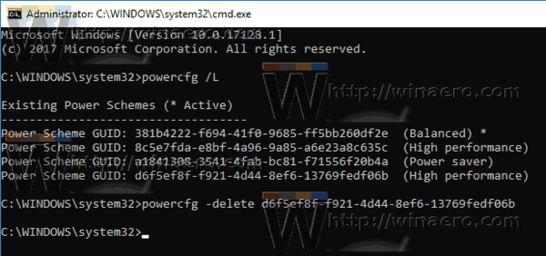 Windows 10 Delete Power Plan Powercfg