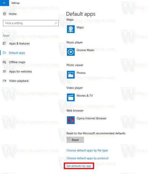 Windows 10 Set Defaults By App Link