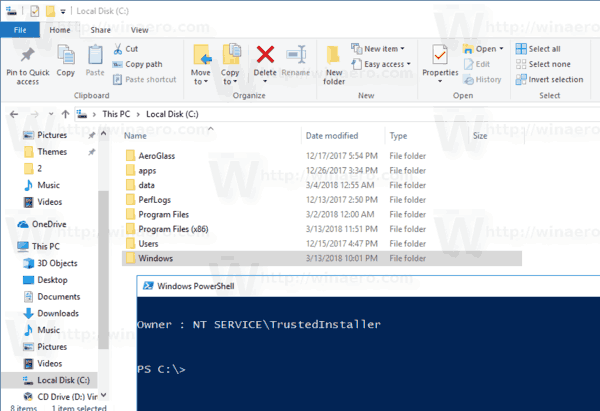 View Owner Context Menu Added In Windows 10