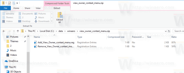 View Owner Context Menu Files