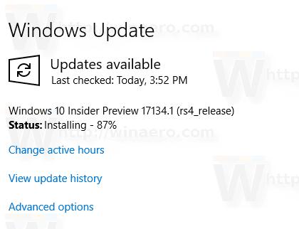 17134 Windows Update