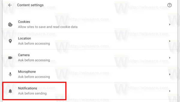 Chrome Content Settings Notifcations