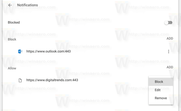 Chrome Notification Options Menu