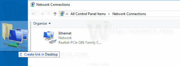 Create Network Connections Shortcut In Windows 10
