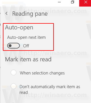 Disable Auto Open Next Item In Windows 10 Mail