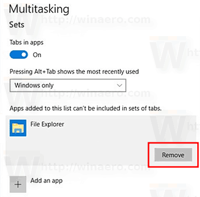 Remove An App From Tabs Exclusions Window 10