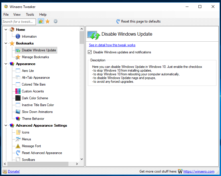 Winaero Tweaker 0.10 Disable Windows Update