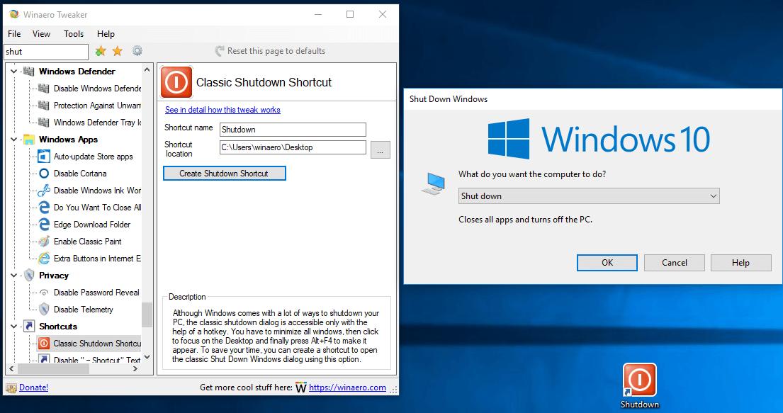 Winaero Tweaker 0.10 Classic Shutdown Dialog