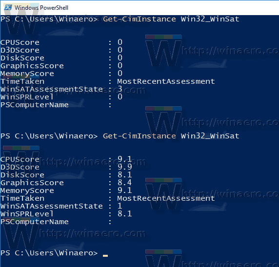 Windows 10 WEI PowerShell