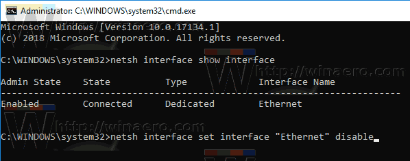 Windows 10 Disable Network Adapter Netsh Command