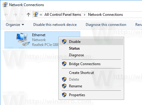 Windows 10 Disable Network Connection