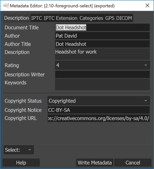 Exif Editing Gimp 2.10