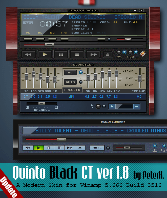 Quinto Black CT 1 8 Skin for Winamp: with Component Label slider