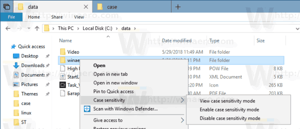 Case Sensitivity Context Menu Windows 10