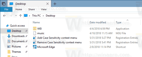 Case Sensitivity Context Menu Files