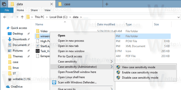 Case Sensitivity Extended Context Menu Windows 10