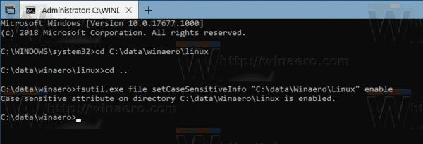 Enable Case Sensitive Mode For Folders In Windows 10