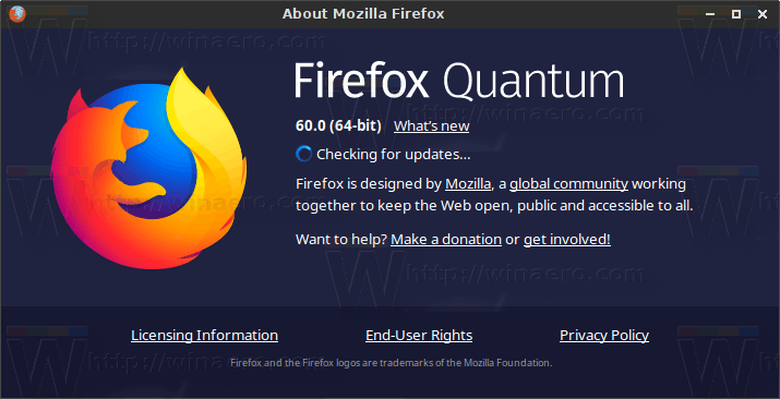 Firefox 60 About Box