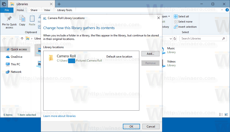 Manage Library Dialog Windows 10