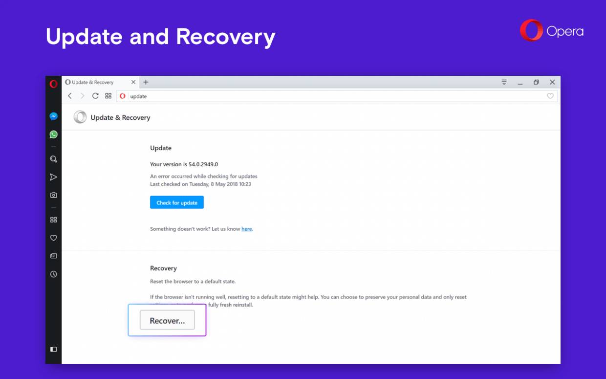 Opera 54 Recover Section