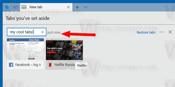 Rename Tabs Aside Group In Microsoft Edge