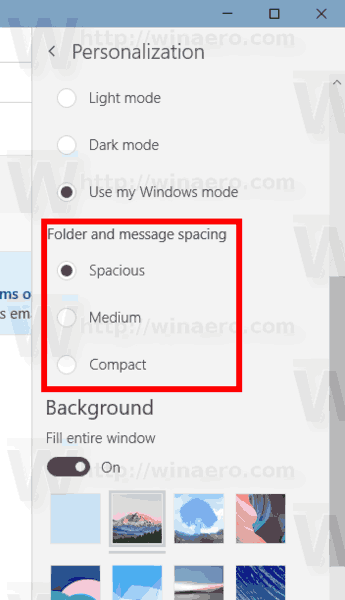 Windows 10 Mail Change Folder Message Density