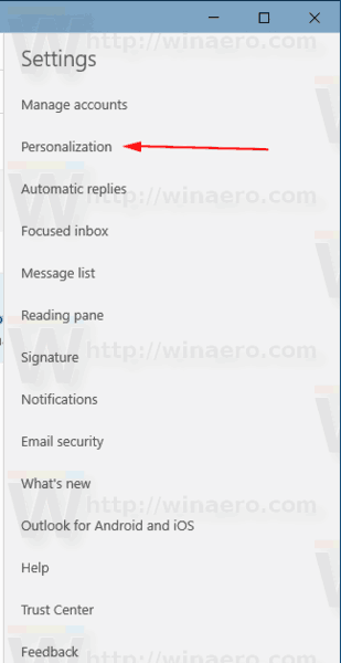 Windows 10 Mail Settings Personalization
