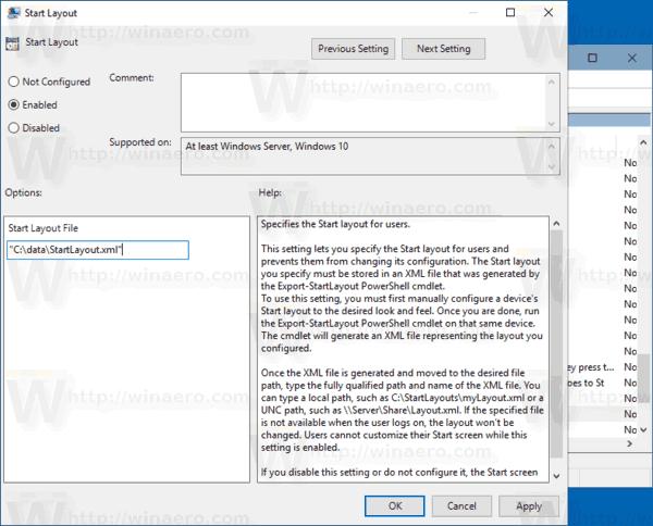 Windows 10 Start Layout Policy 2