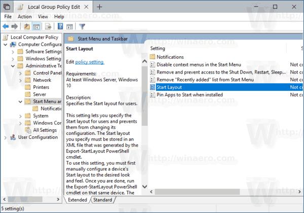 Windows 10 Start Layout Policy