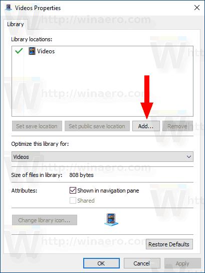 Windows 10 Add Folder Button