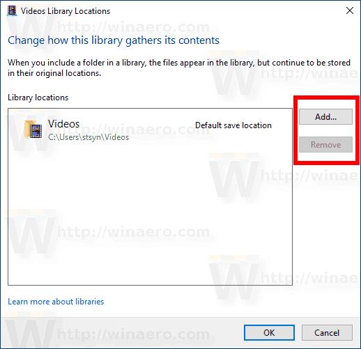 Windows 10 Add Remove Folder Manage Library Dialog