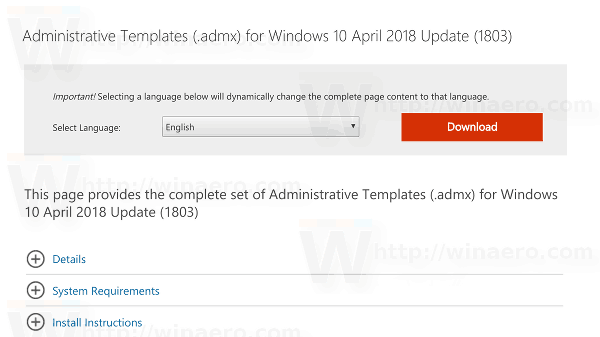 Administrative Templates v2 for Windows 10 version 1803