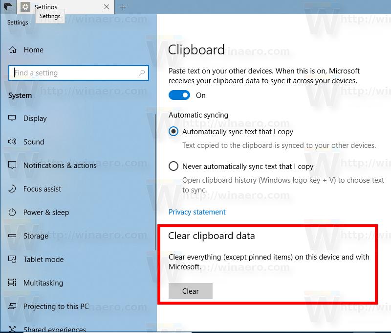 Windows 10 Clear Clipboard History Button