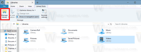 Windows 10 Manage Library Button