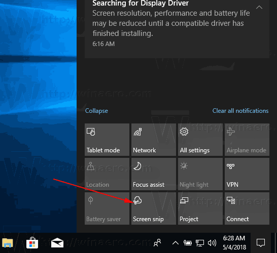 Windows 10 Screen Snip Action Button
