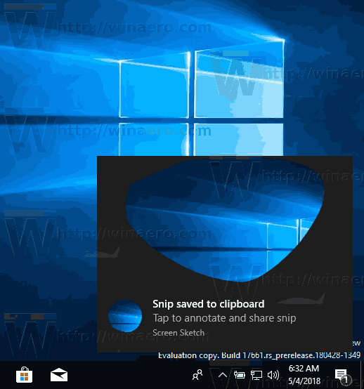 Windows 10 Screen Snip Notification