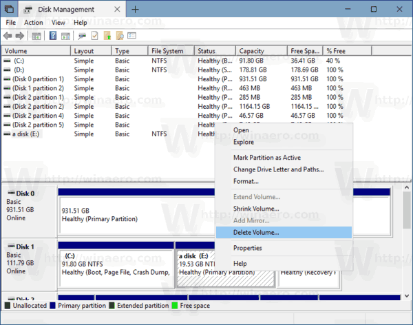 Delete Volume Partition Window 10