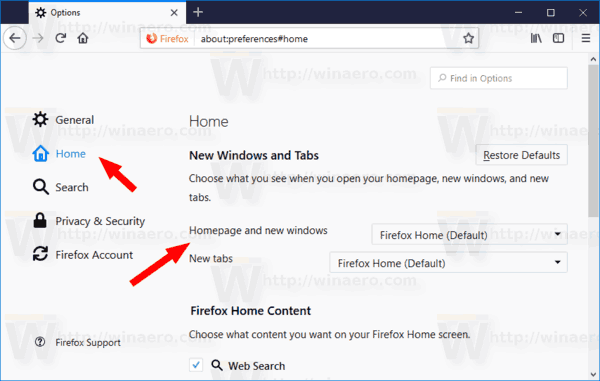 Change New Tab Page and Homepage in Mozilla Firefox