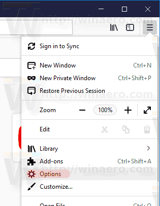 Firefox Menu Options Items
