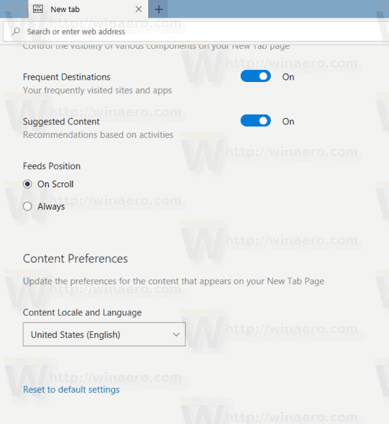 New Tab Page Settings All Settings