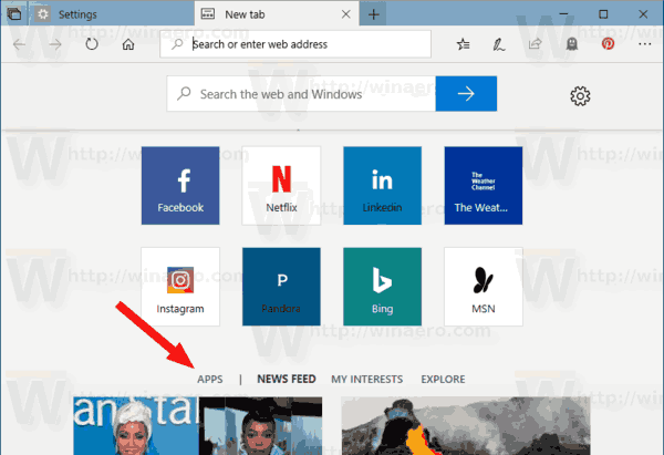 New Tab Sets Apps Link
