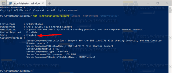 Enable SMB1 Sharing Protocol in Windows 10